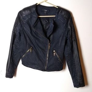 Forever 21 Jean and Faux-Leather Moto Jacket
